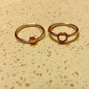 Two tone pandora ring, hearts. Size 60 (9)